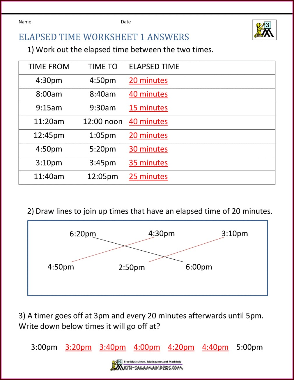 Elapsed Time Digital Clock Worksheets