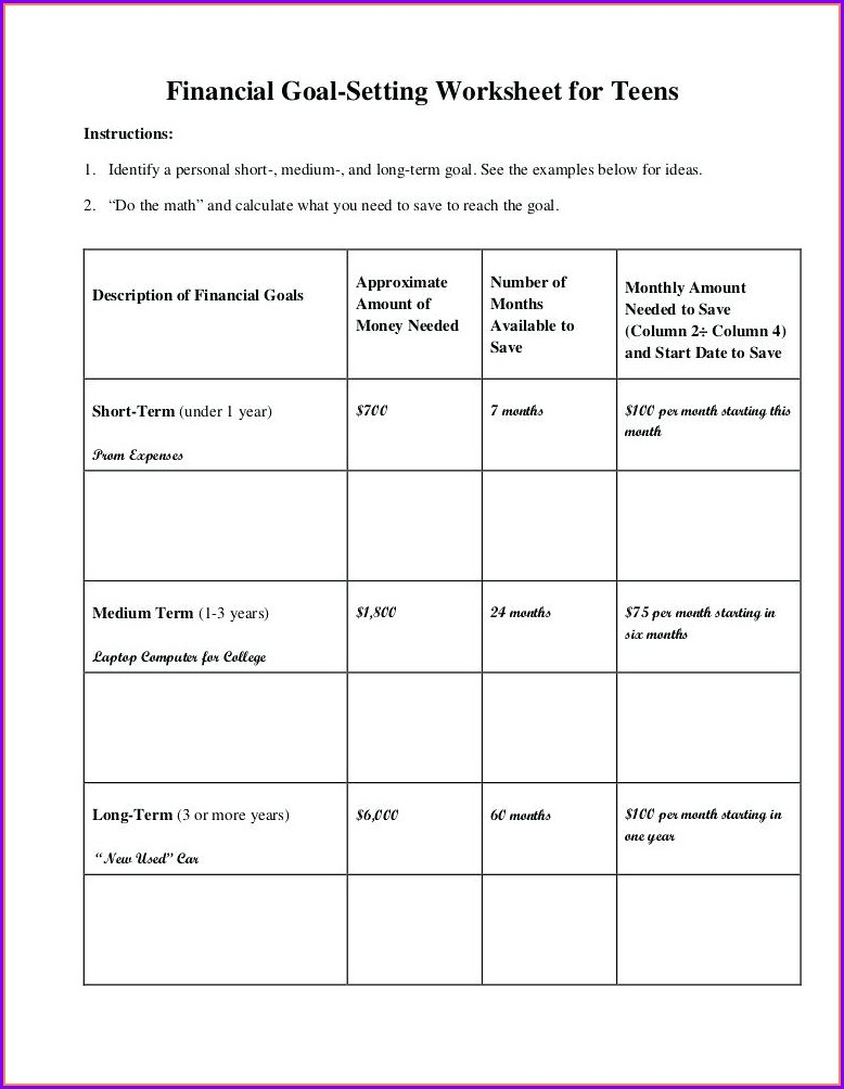 Employee Goal Setting Worksheet Template