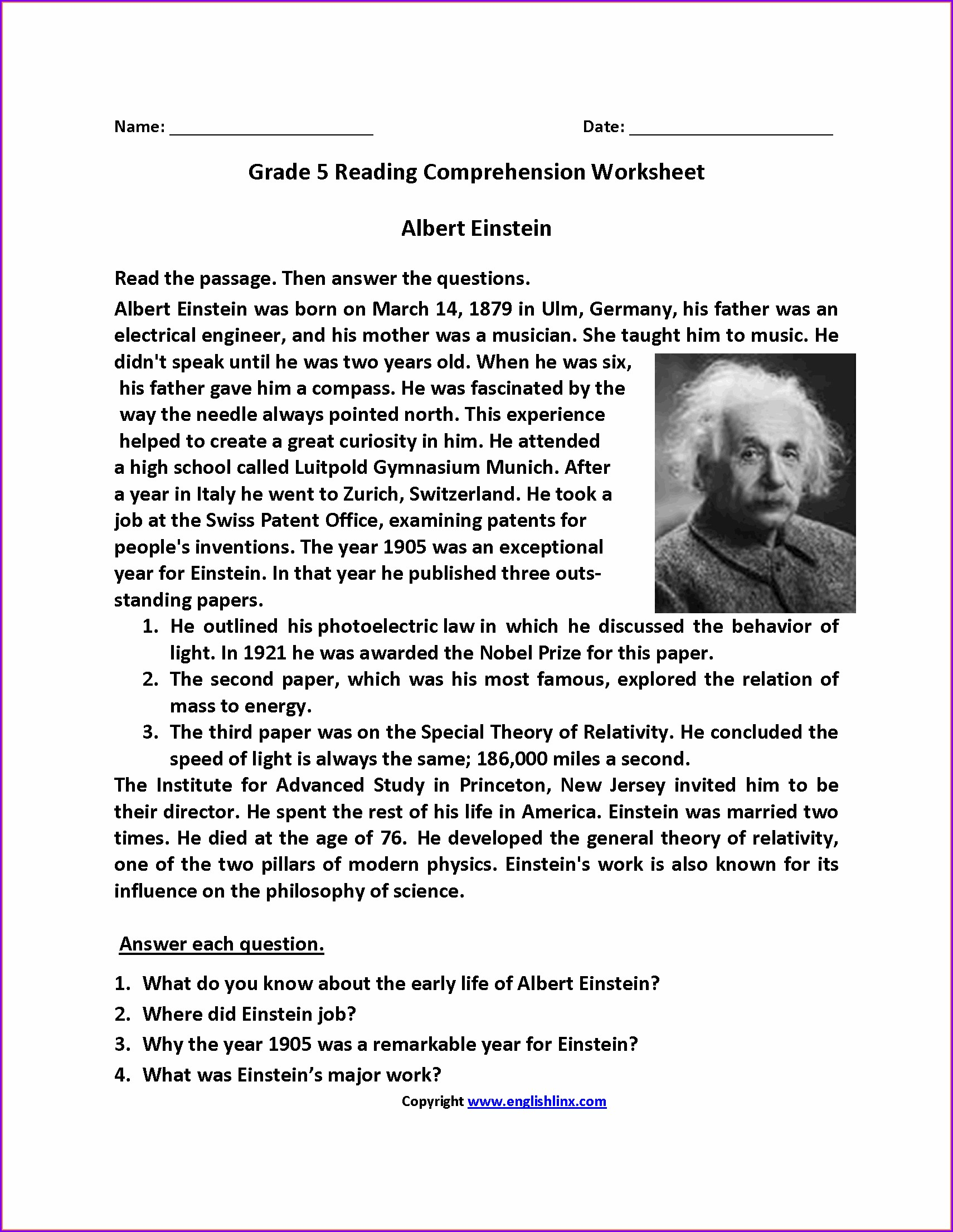 English Comprehension Worksheets For Grade 5 With Answers