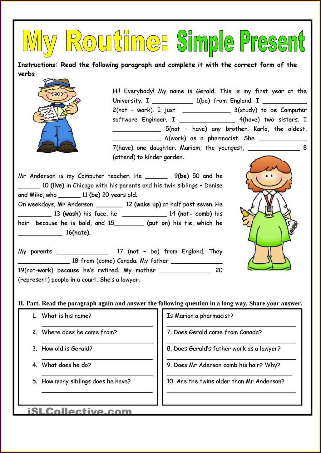 English Simple Present Tense Worksheet