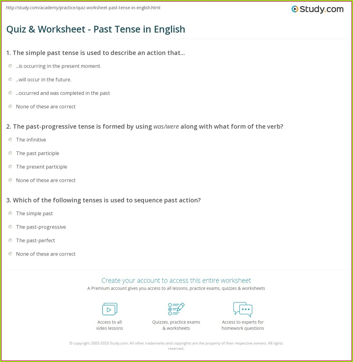 English Worksheet Past Tense