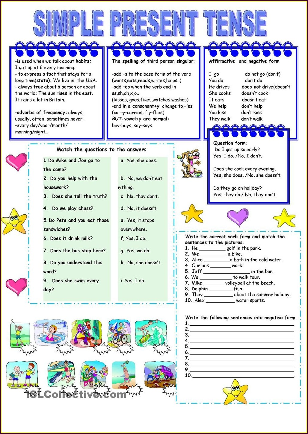 English Worksheet Present Tense