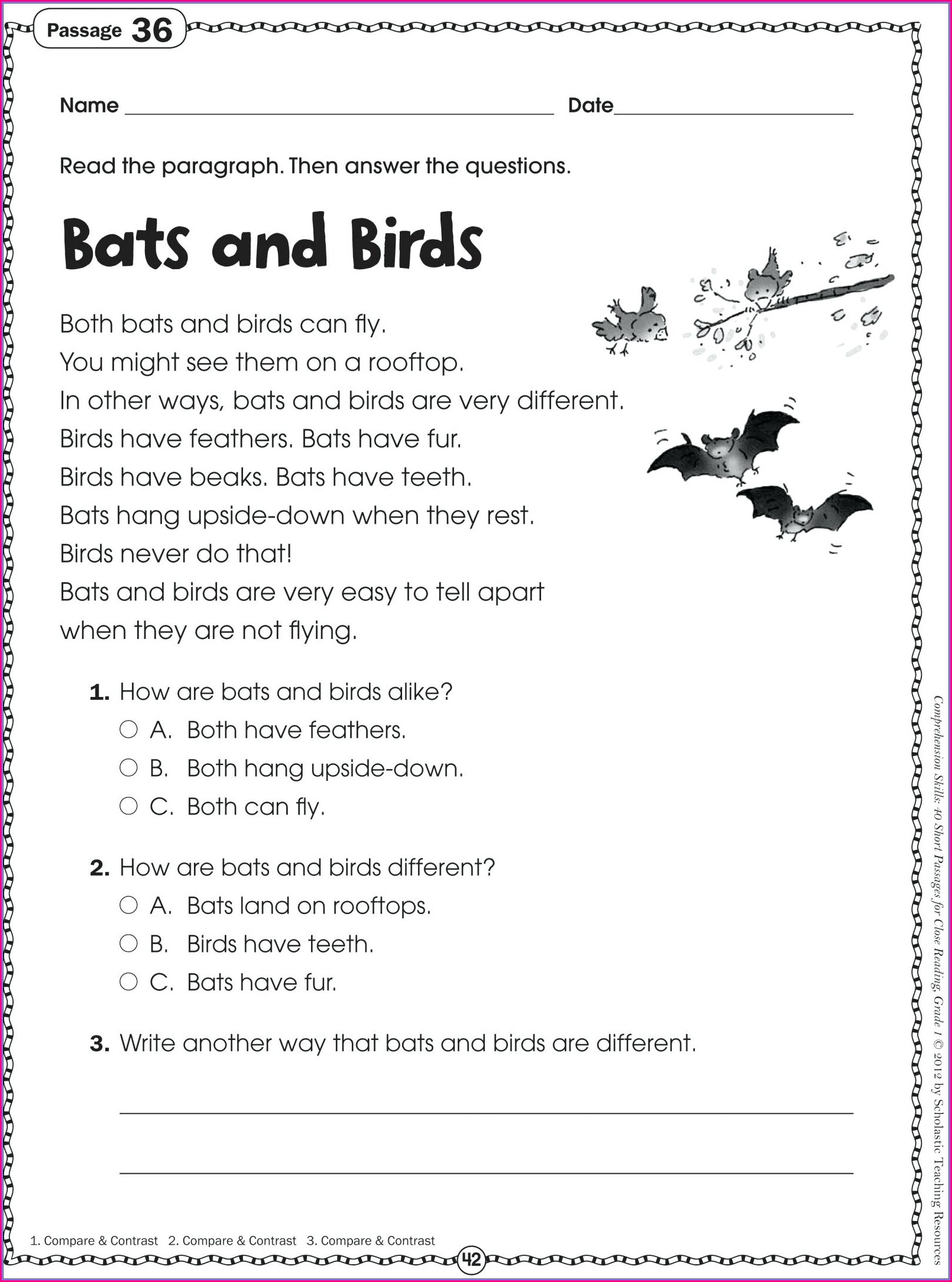 English Worksheets For Elementary Students