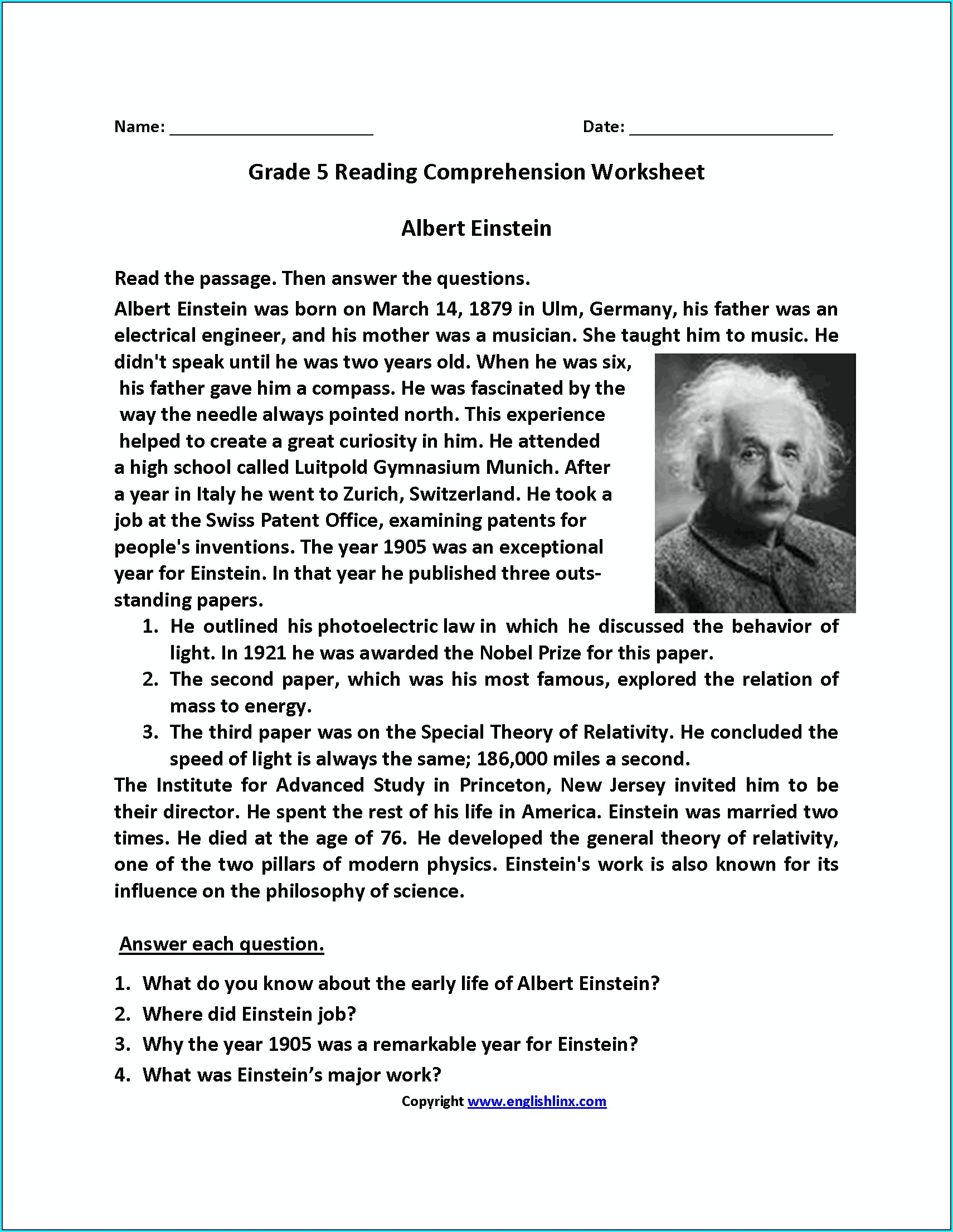 English Worksheets For Grade 5 Conjunctions