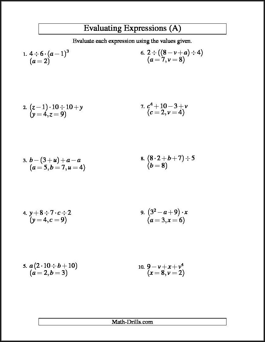 Evaluating Expressions With Rational Numbers Worksheet