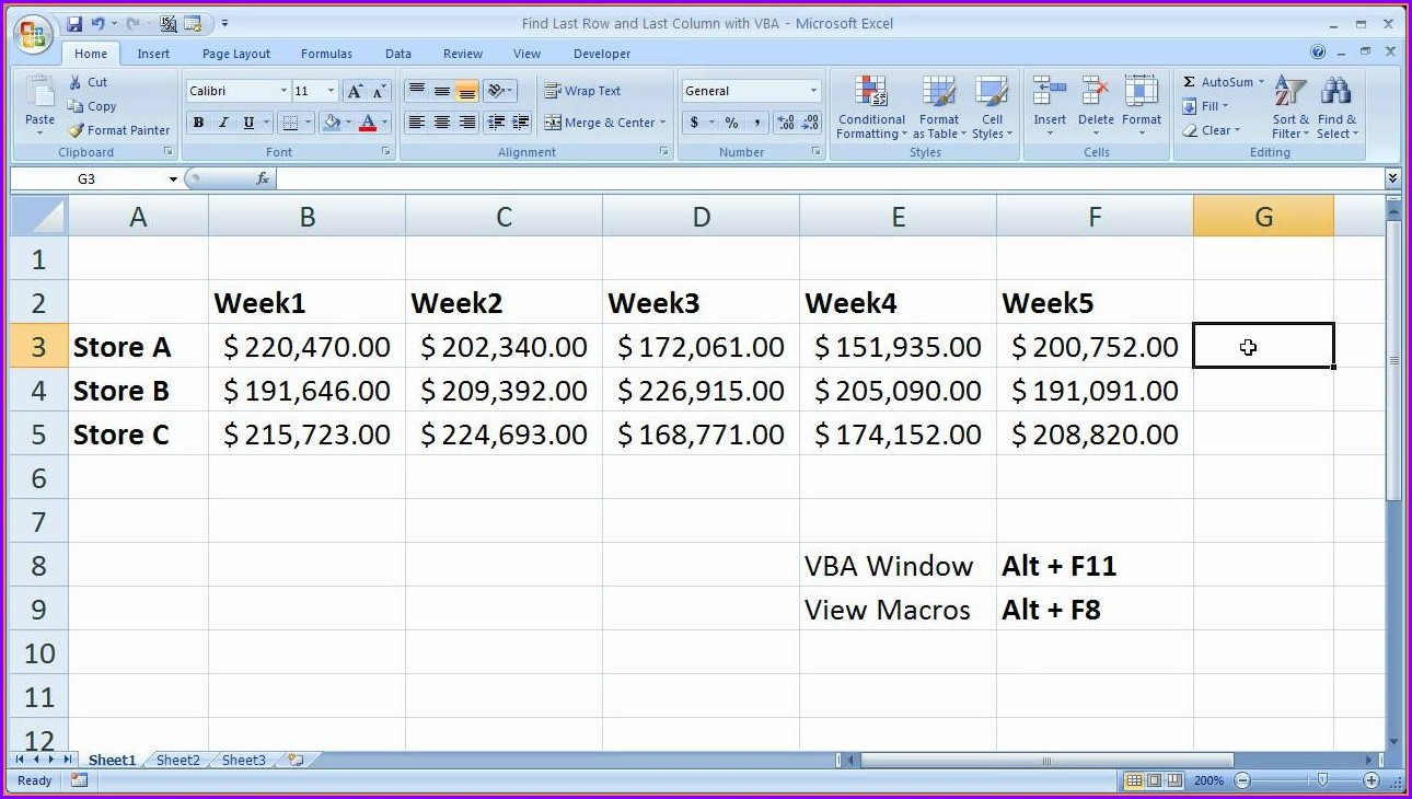 Excel 2007 Find Last Row In Worksheet