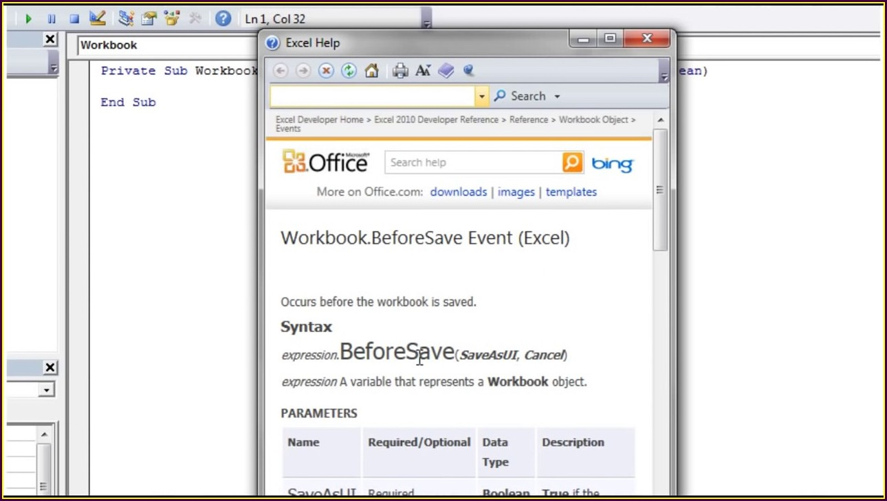Excel Workbook Save Event