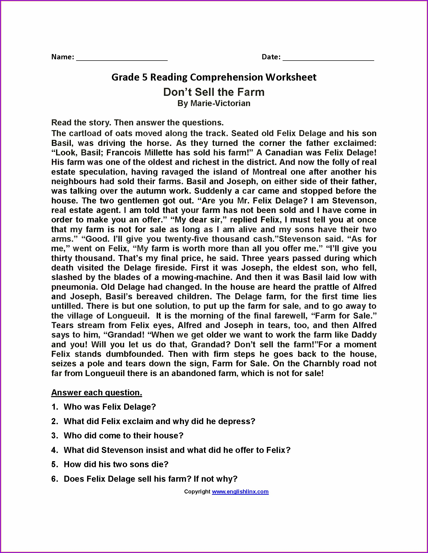 Fifth Grade Grade 5 English Comprehension Worksheets