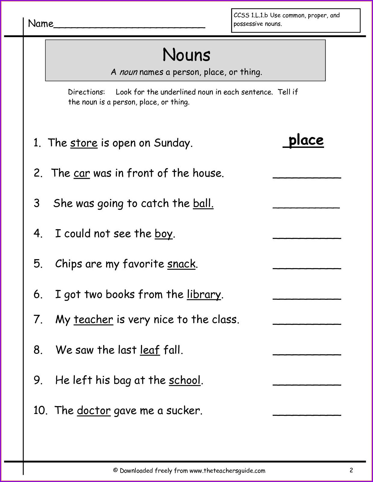 First Grade English Worksheet For Class 1