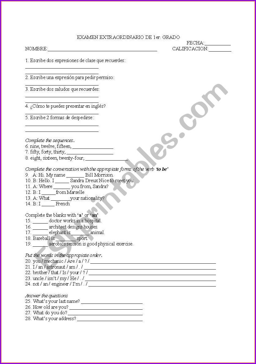 First Grade English Worksheets