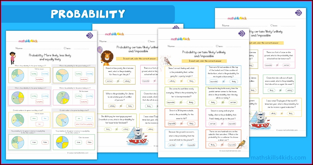 First Grade Grade 1 Probability Worksheets