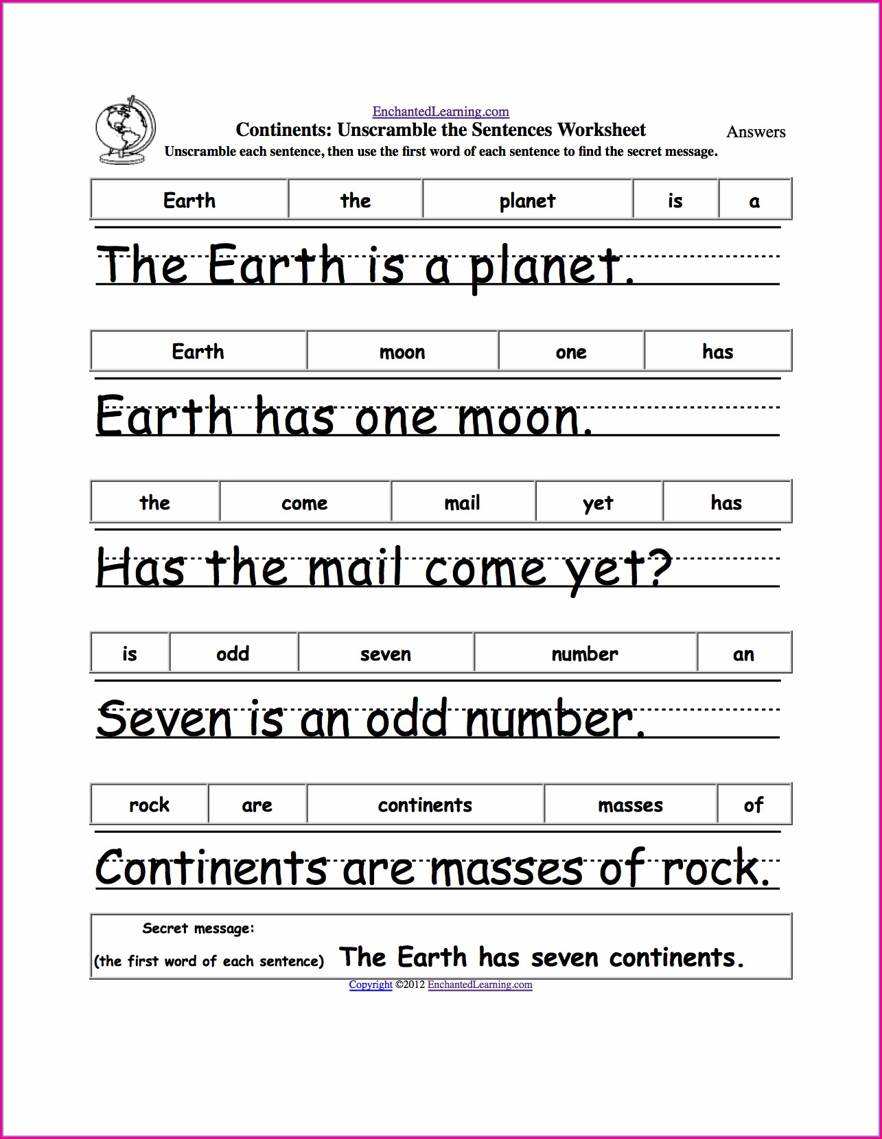 First Grade Handwriting Sentence Worksheets