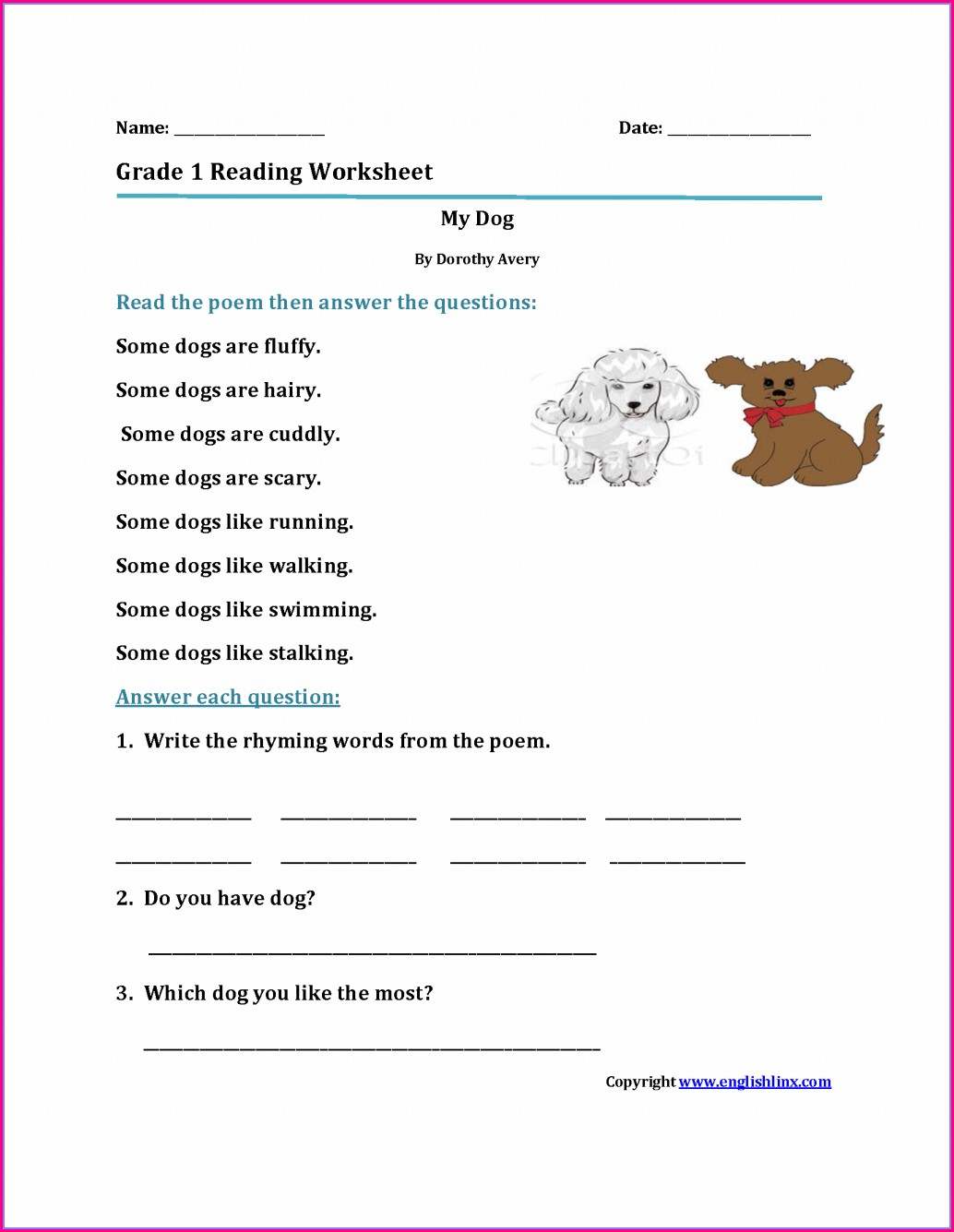 First Grade Handwriting Worksheets