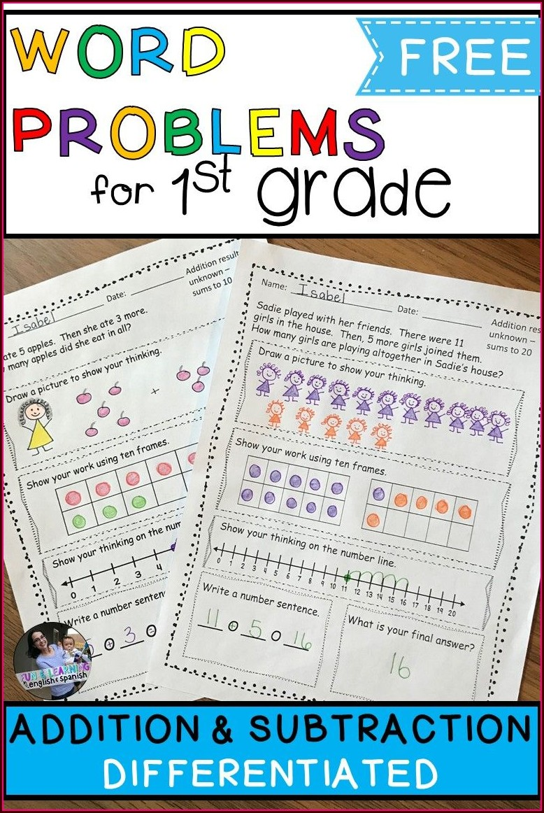 First Grade Subtraction Worksheets Word Problems