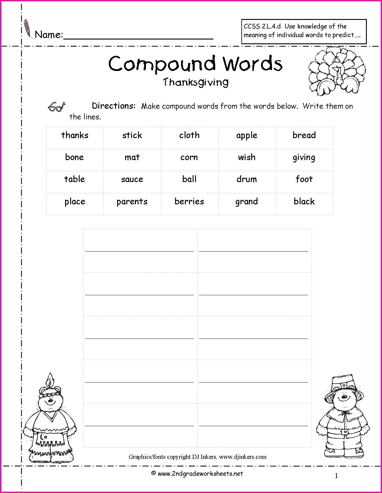 First Grade Worksheets For Thanksgiving