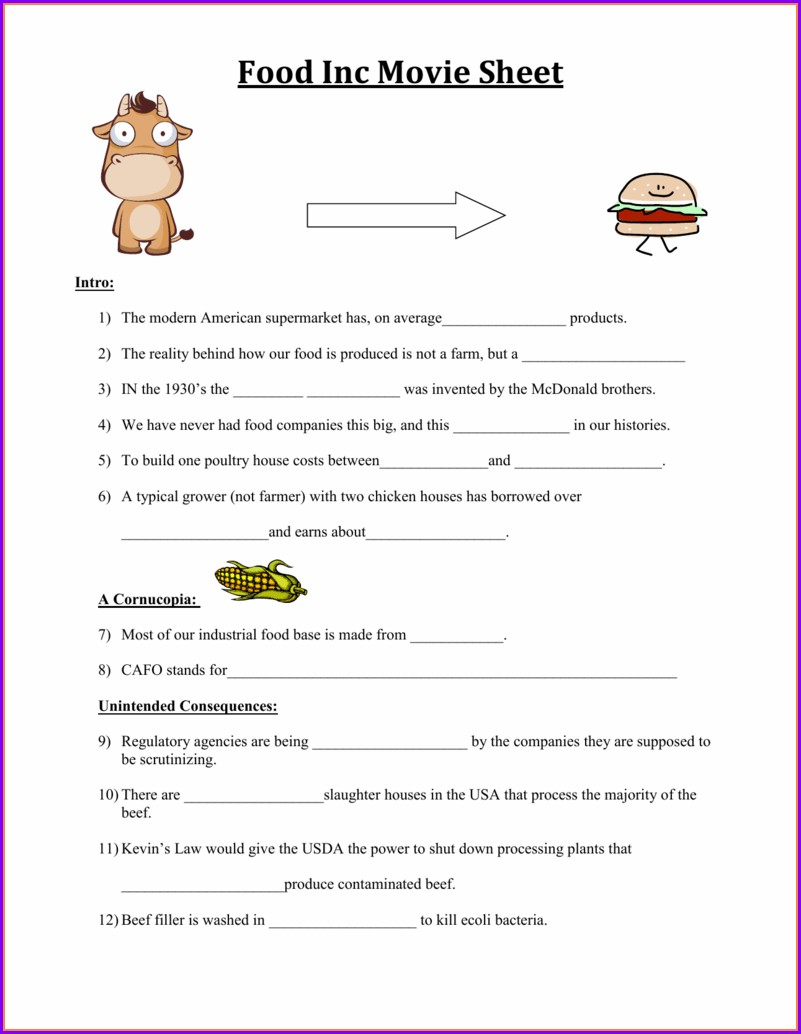 Food Inc Notes Worksheet
