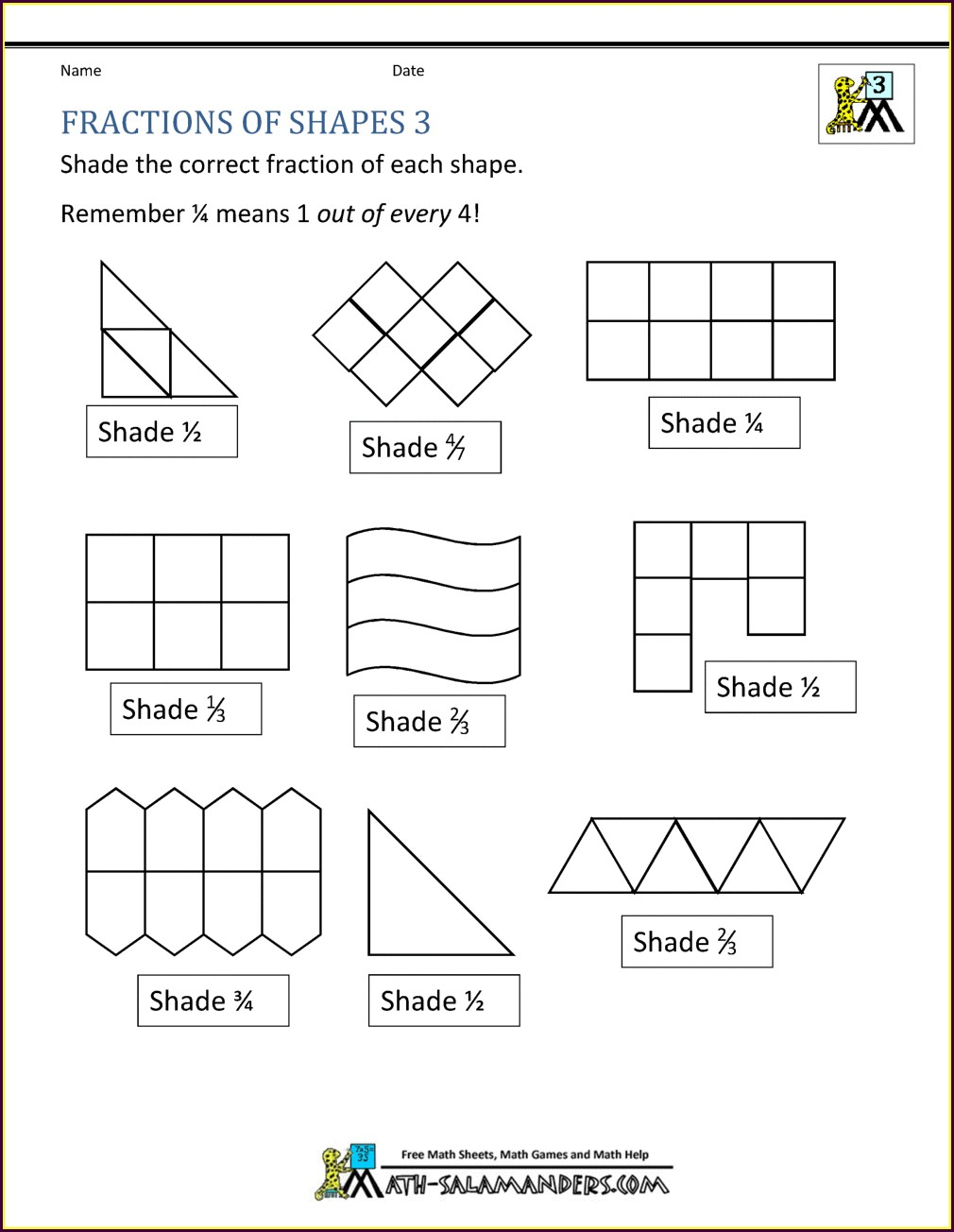 Fractions Worksheet Ks1 Tes