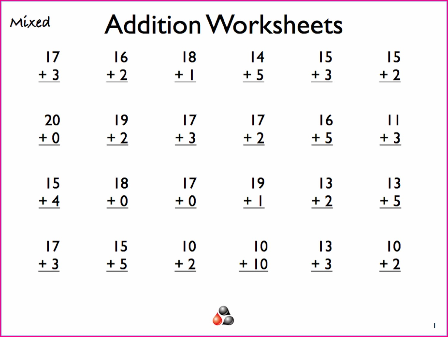 Free Printable Addition Worksheet 1st Grade