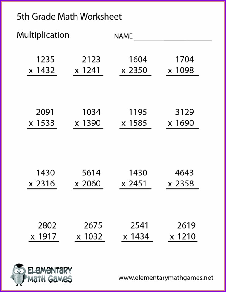 Free Printable Multiplication Worksheets Grade 5
