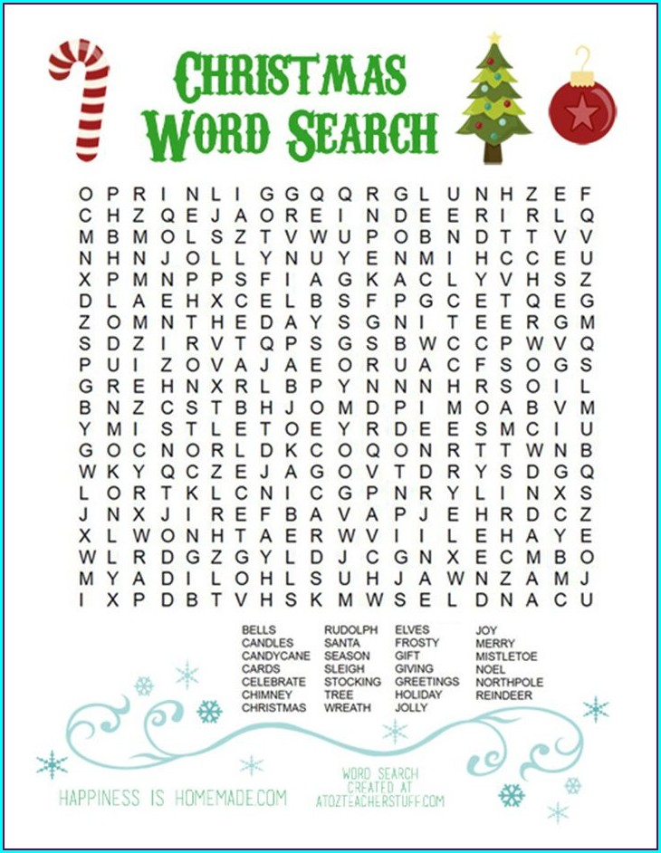 Free Printable Word Search Christmas