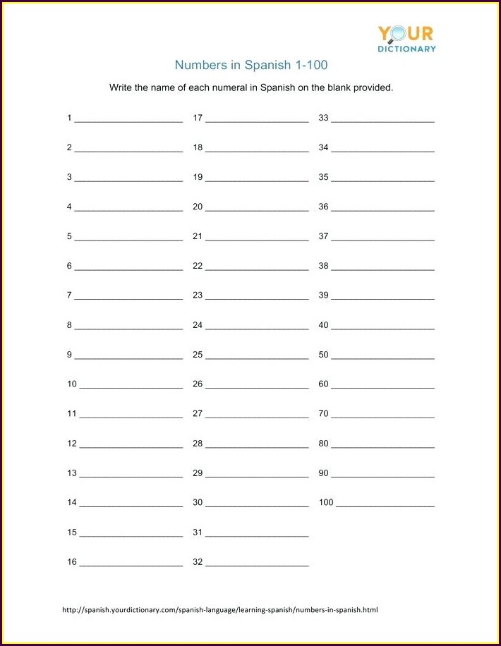 Free Spanish Numbers Worksheet 1 100
