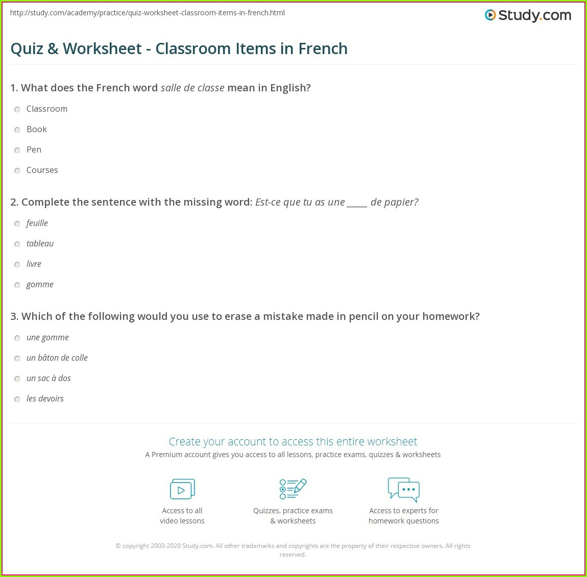 French Classroom Items Worksheet