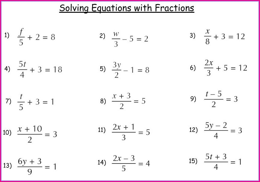 Gcse Fractions Worksheet Higher