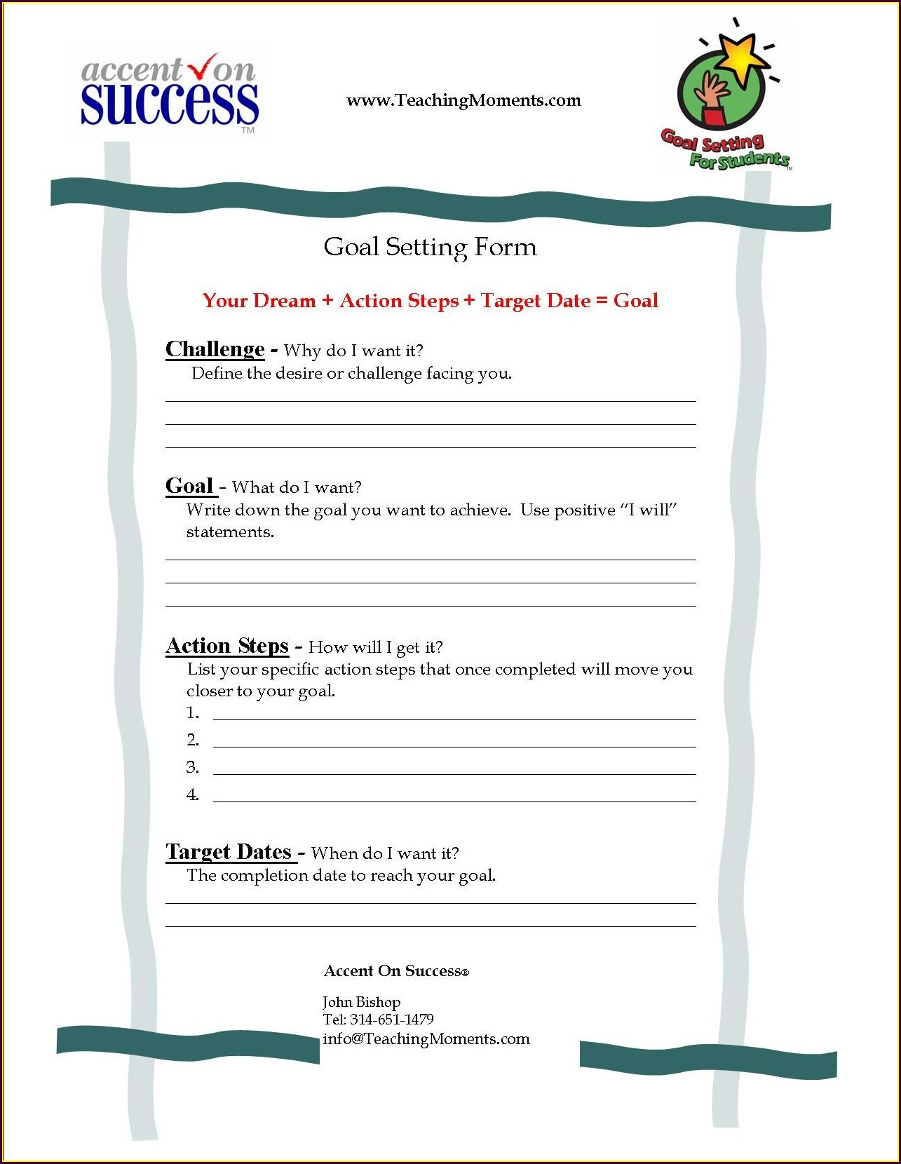 Goal Setting Lesson Plans For Middle School