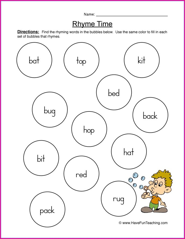 Grade 1 Matching Rhyming Words Worksheet