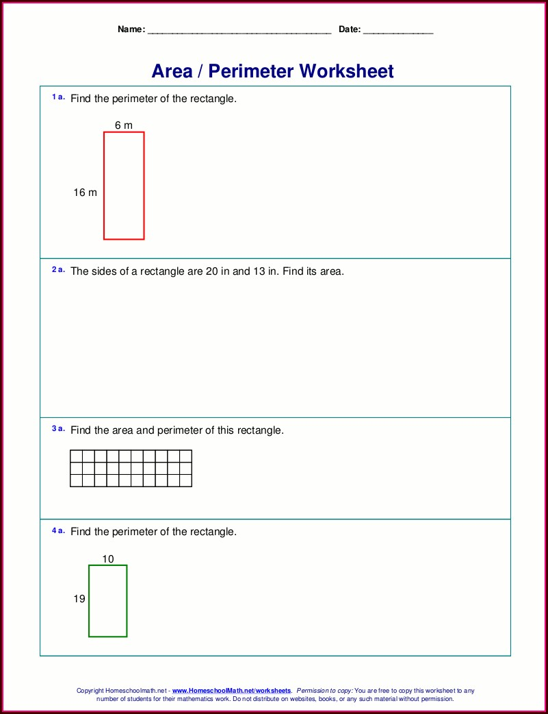 Grade 2 Math Worksheets Area Perimeter