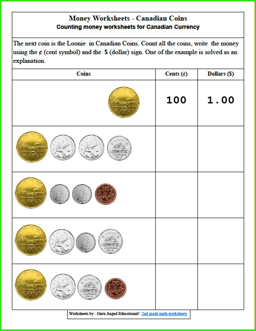 Grade 2 Math Worksheets Money Canadian