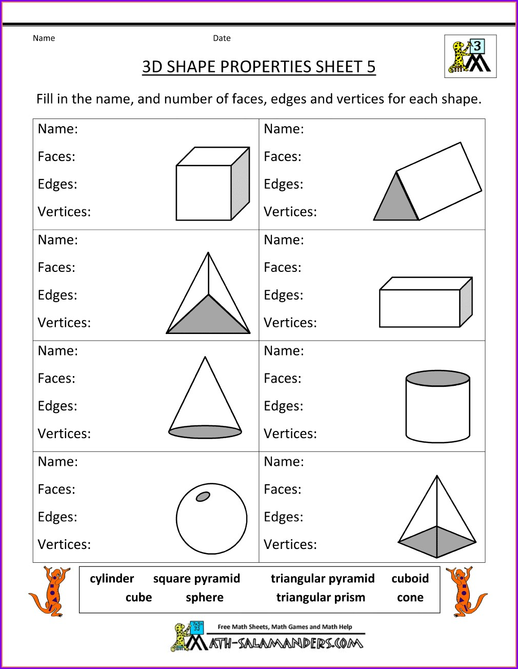 Grade 3 3rd Grade Geometry Worksheets Pdf