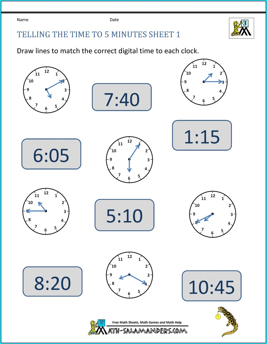 Grade 3 Worksheet On Time For Class 3