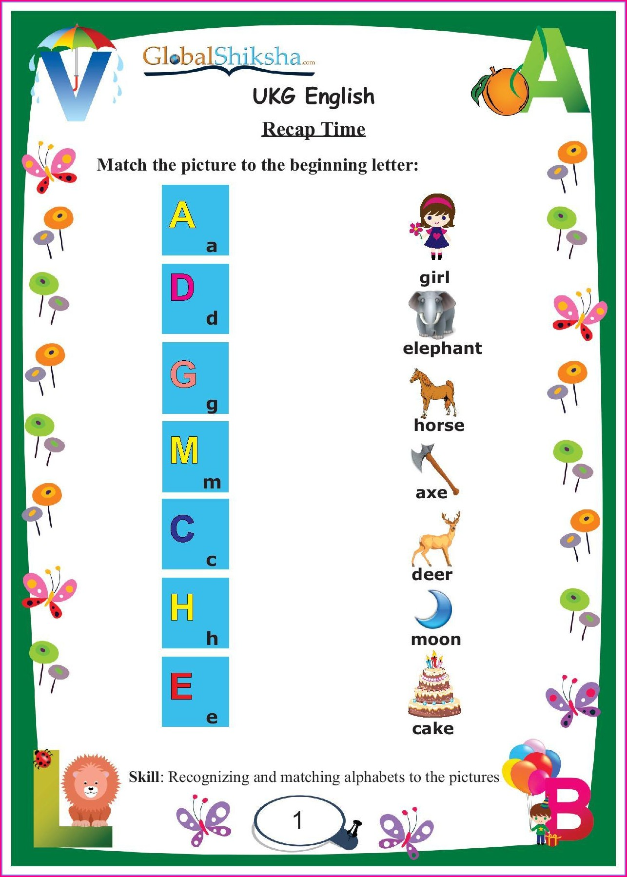 Grade 4 English Worksheet For Ukg Cbse Pattern