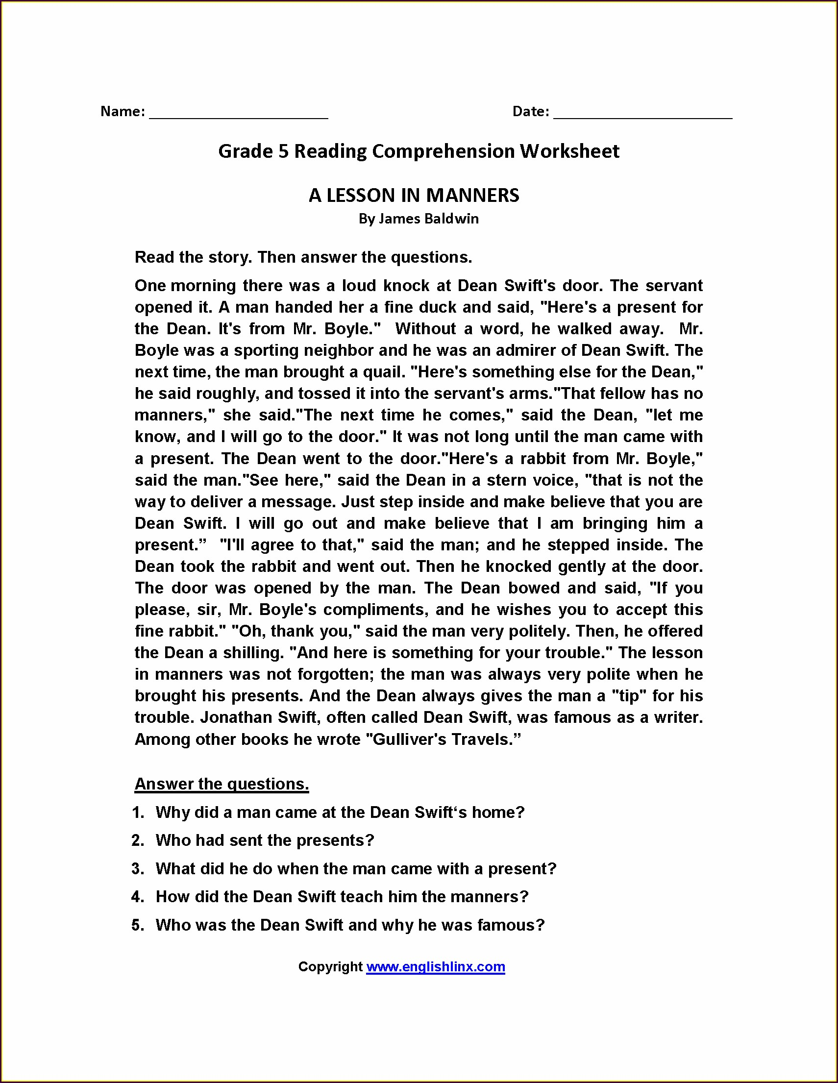 Grade 5 English Reading Worksheets
