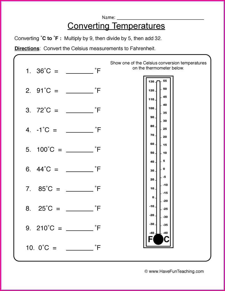 Grade 5 Temperature Worksheets