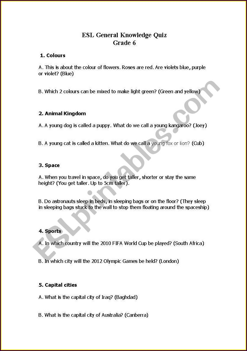 Grade 6 English Worksheets In South Africa