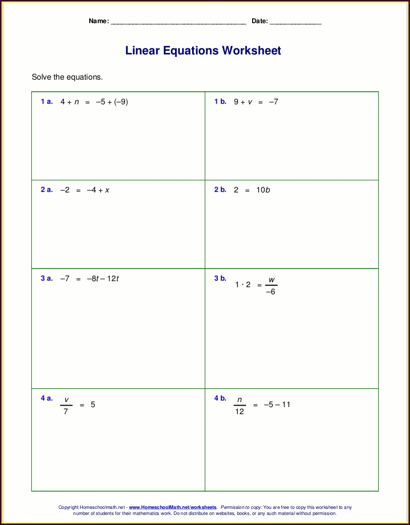 Grade 7 7th Grade Equations Worksheet