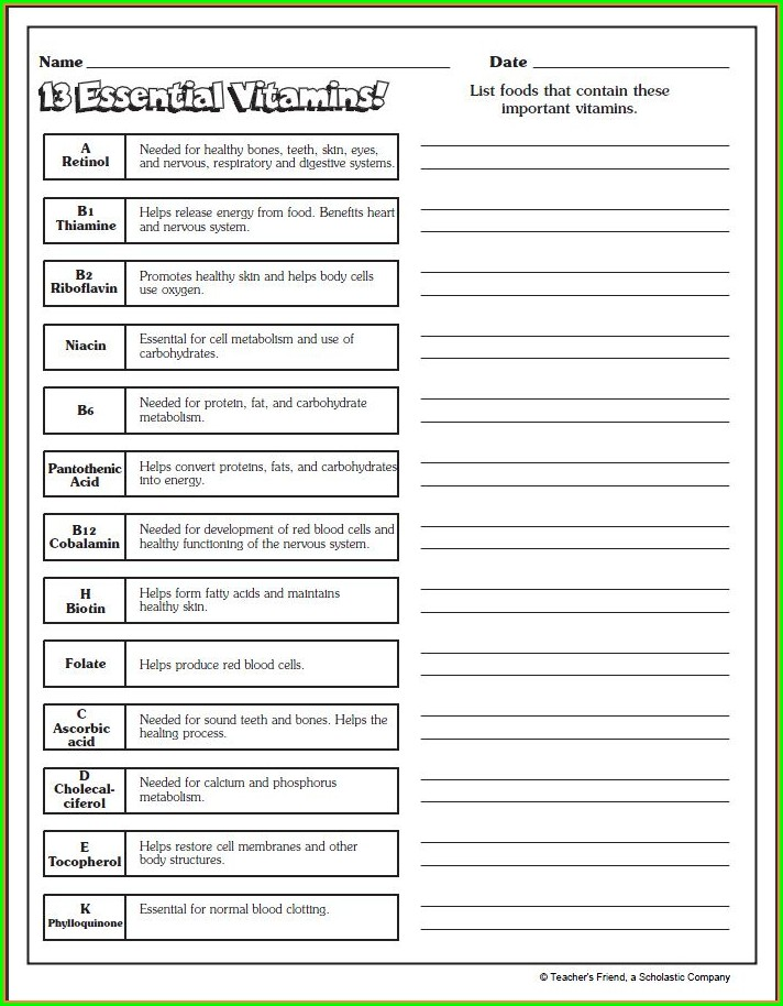 High School Health And Wellness Worksheets For Students