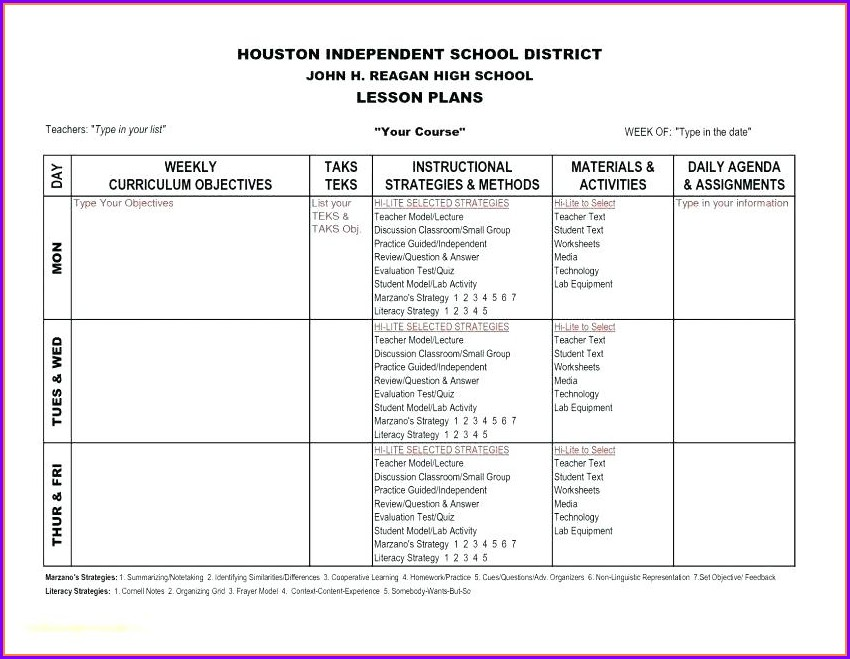 High School Independent Reading Worksheet