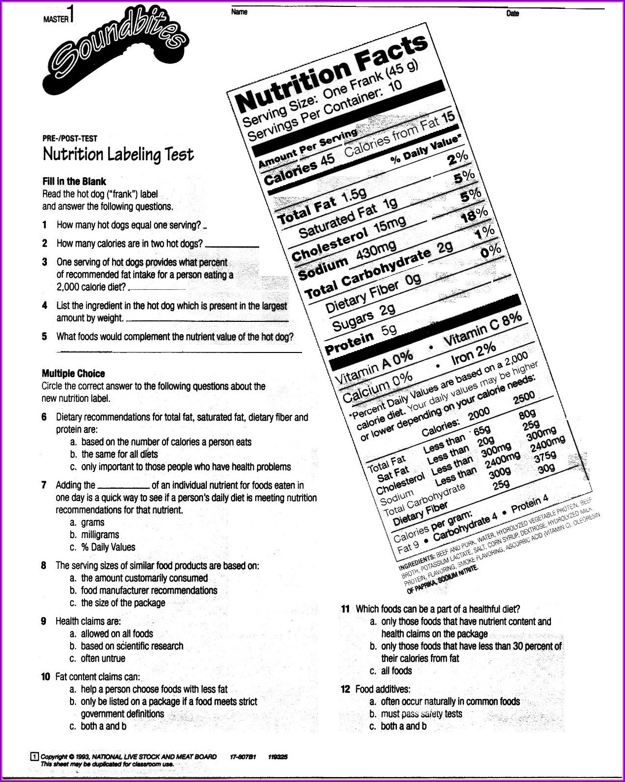 High School Reading Food Labels Worksheet