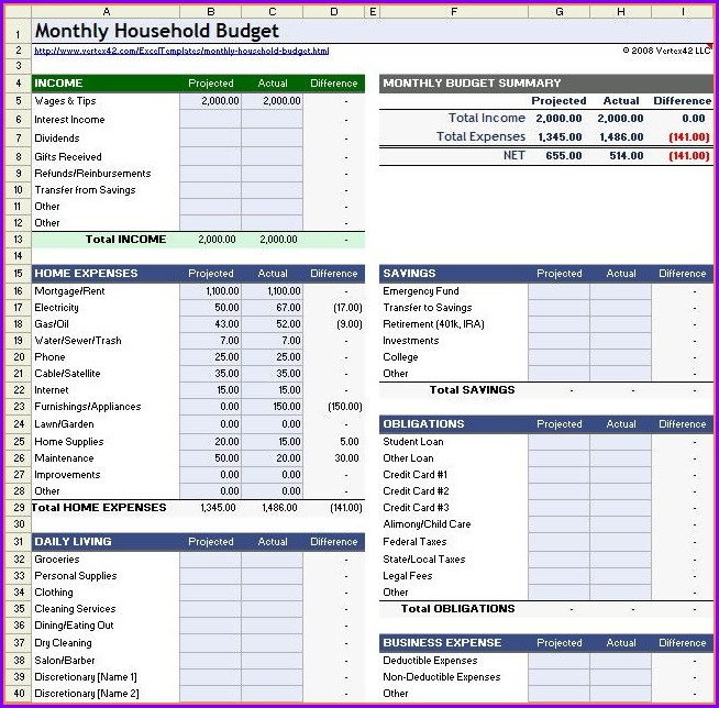 Household Budget Worksheets In Excel