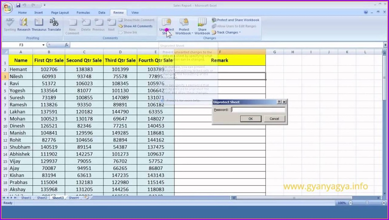 How To Protect Excel Worksheet 2007