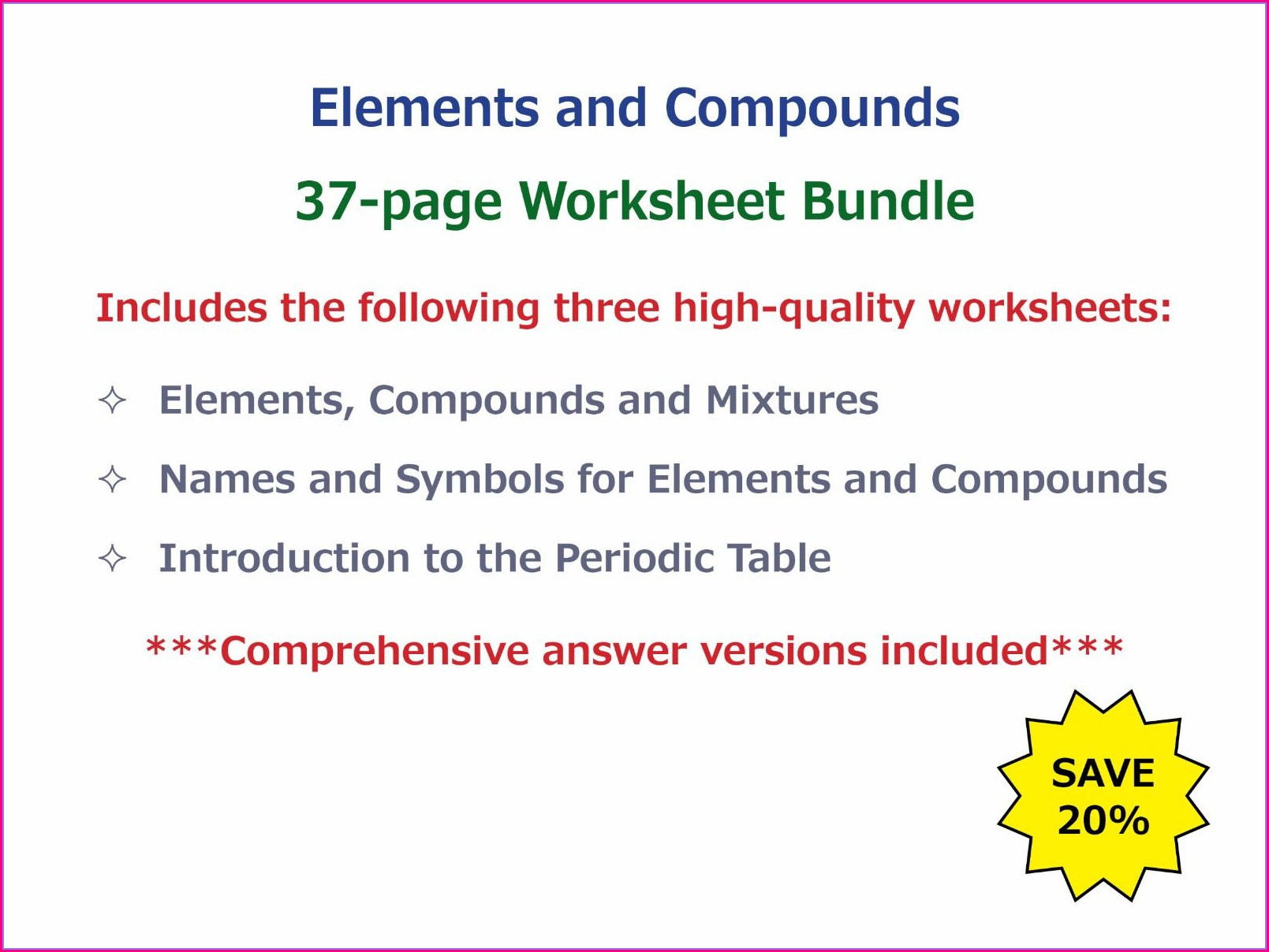 Introduction To The Periodic Table Worksheet