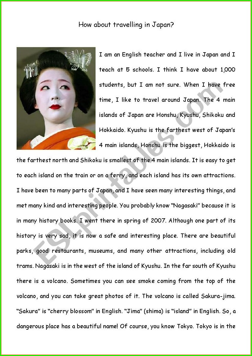 Japan Reading Comprehension Worksheets