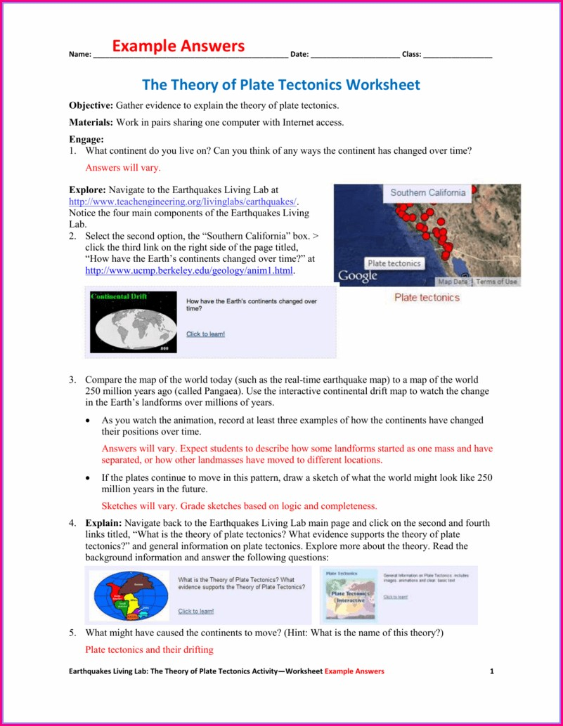 Key The Theory Of Plate Tectonics Worksheet
