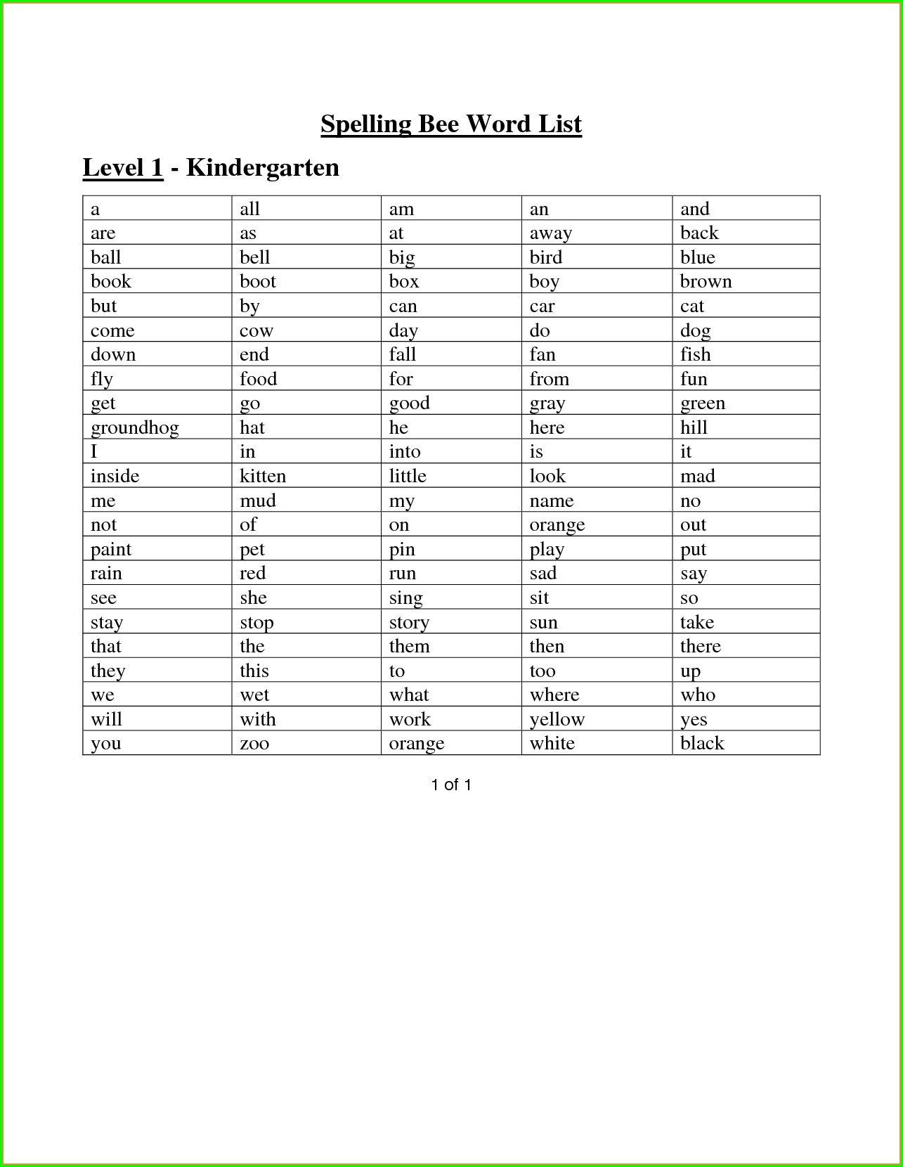Kindergarten Spelling Words Worksheets