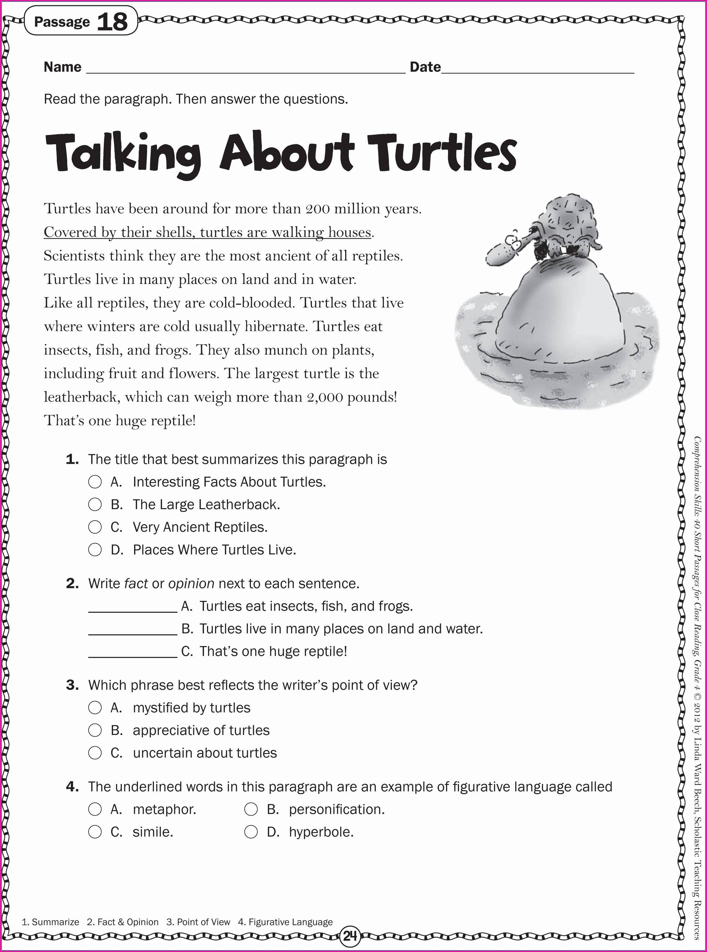 Listening Comprehension Passages With Questions And Answers Pdf Grade 4