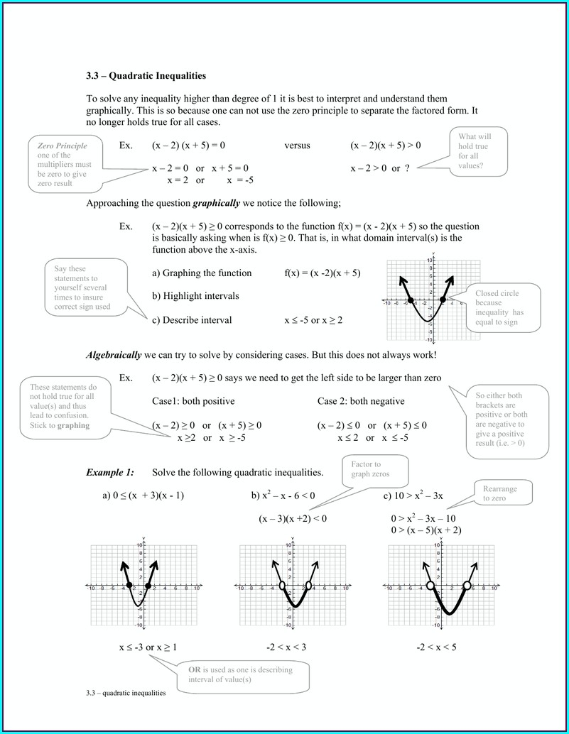 Math 1314 Inequalities Worksheet Answers