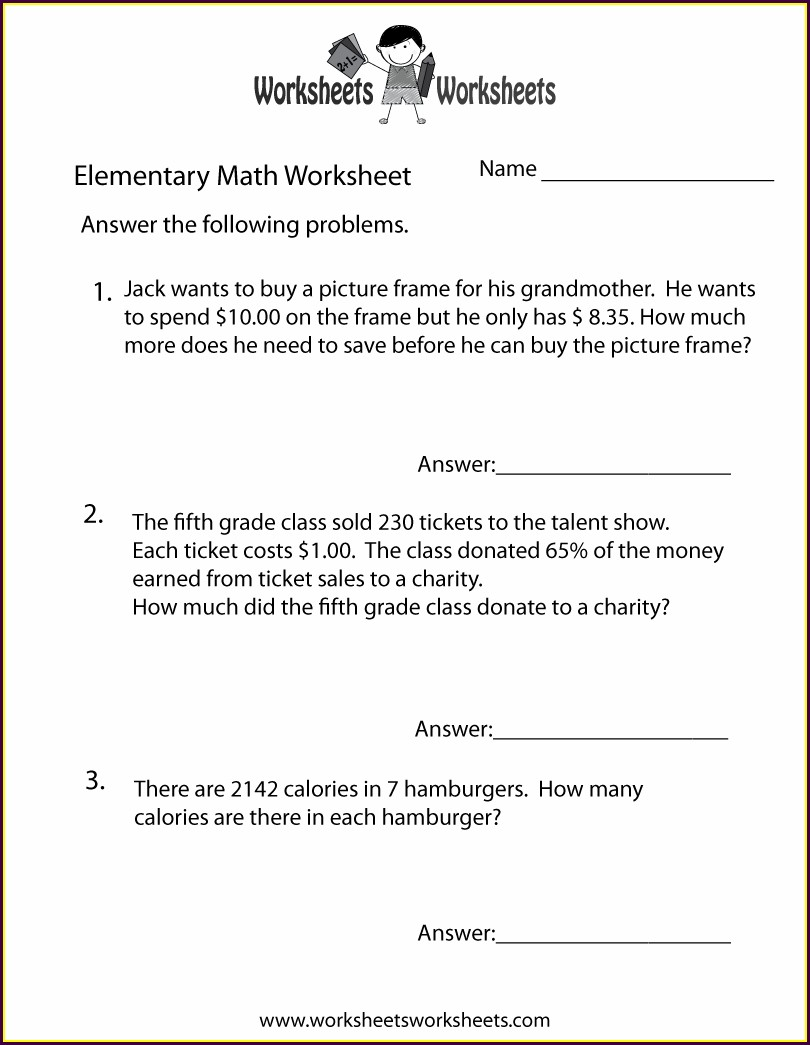Math Word Problems Worksheet Free